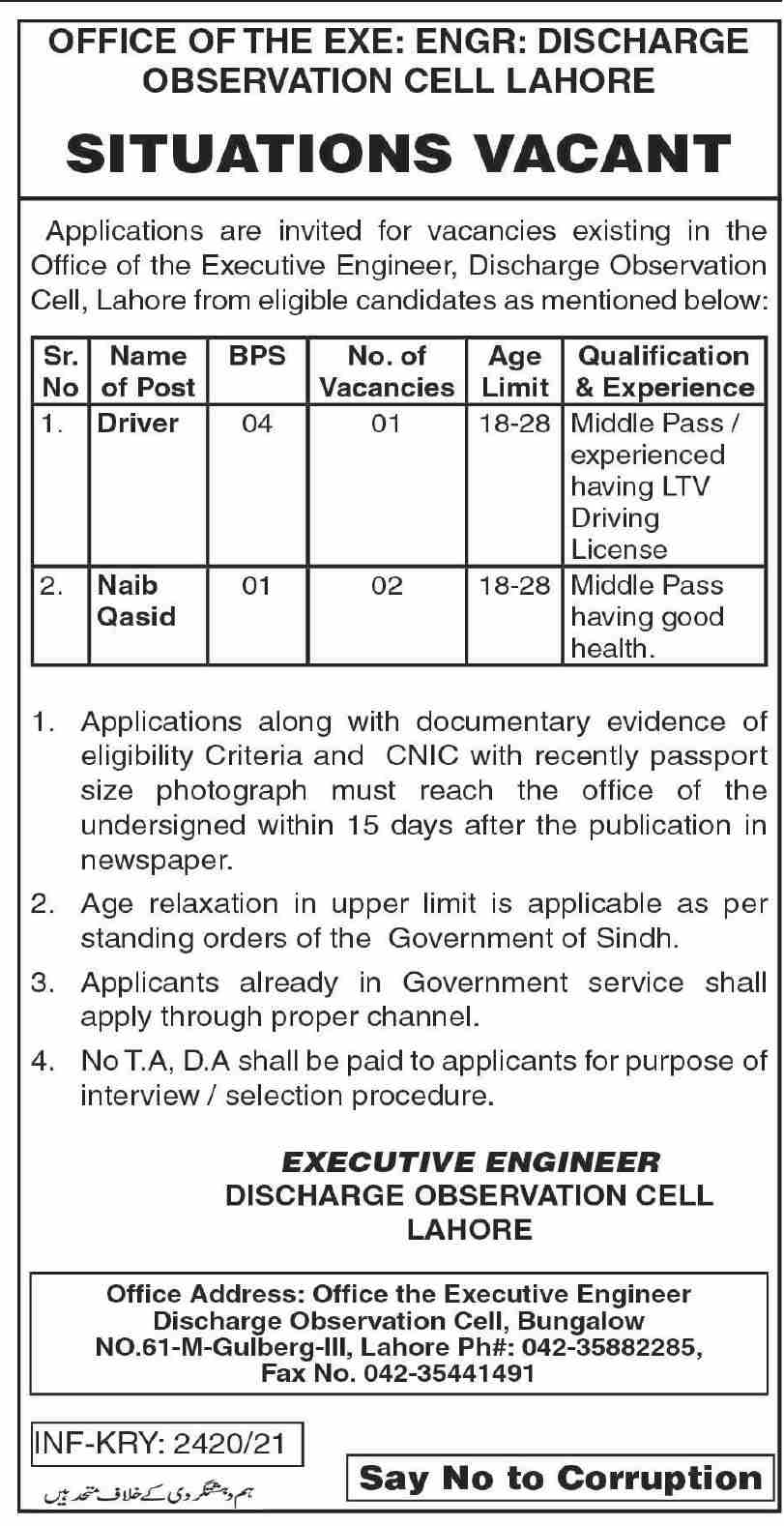 Executive Engineer Office Discharge Observation Cell Lahore Jobs 2021 in Pakistan