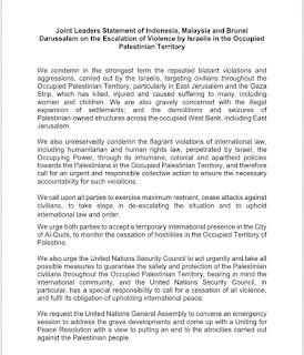 Pernyataan Bersama Pemimpin Indonesia, Malaysia dan Brunel Darussalam tentang Eskalasi Kekerasan oleh Israel di Negara Pendudukan  Wilayah Palestina