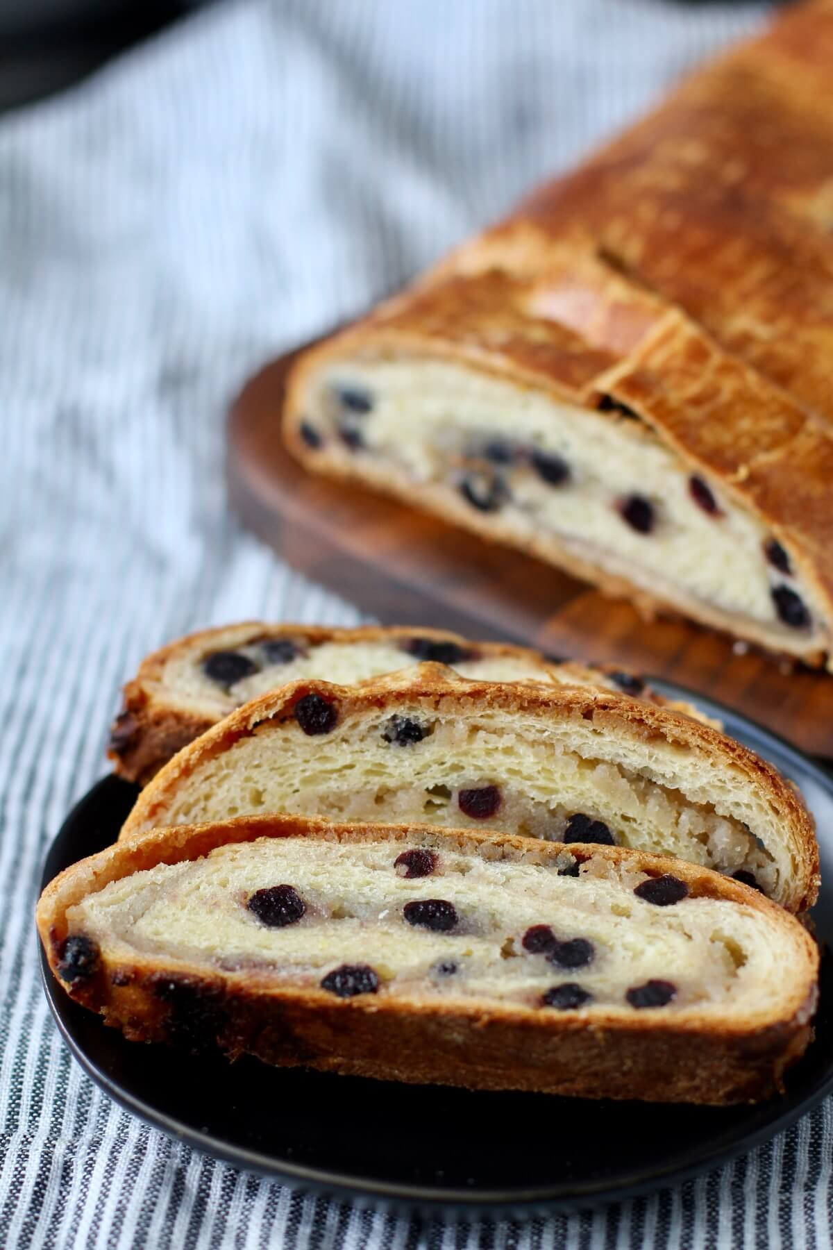 Hungarian Almond Roll with dried blueberries