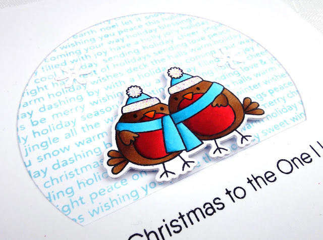 Christmas card for the one I love with cute robin pair (image from MFT)