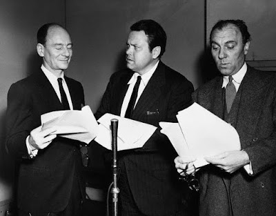 Sir John Gielgud, Sir Ralph Richardson, and Orson Welles performing the radio play Sherlock Holmes: The Final Problem