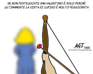 san valentino, cupido, miopia, umorismo, vignetta