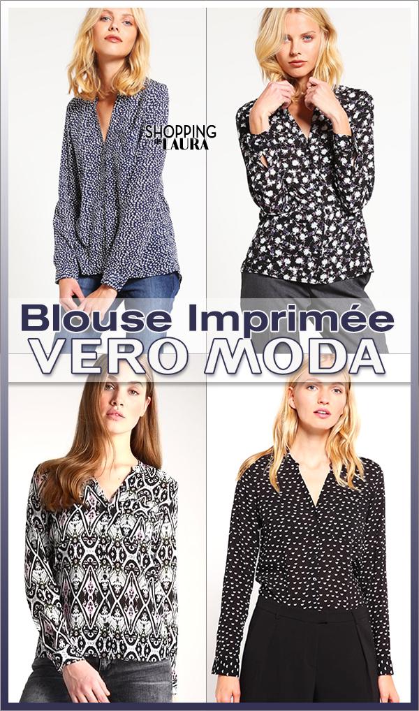 Blouse fluide imprimée bleue ou noire VERO MODA