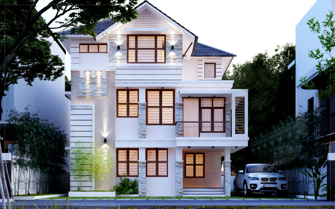Kerala Style 2300 sq ft 4 bed room residence