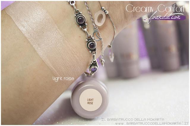 light rose swatches creamy confort foundation Fondotinta Neve Cosmetics
