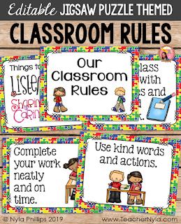 Jigsaw themed classroom rules editable posters