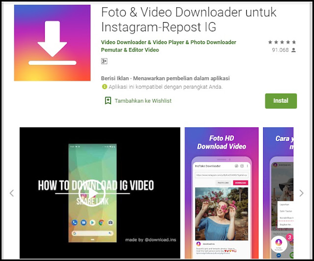 aplikasi download foto dan video hd dari instagram dan IGTV