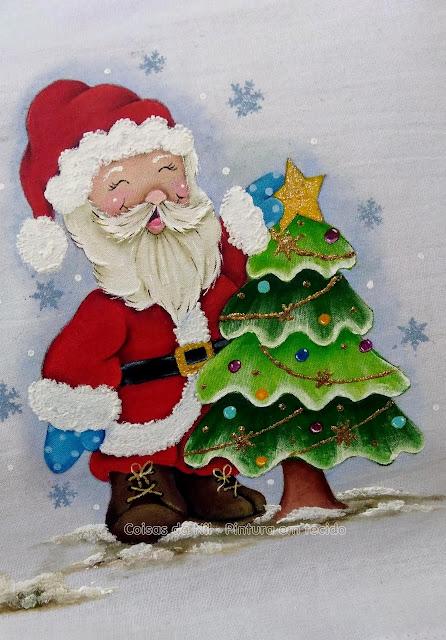 pintura natalina papai noel com árvore de natal
