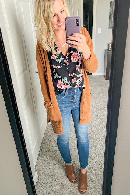 How to Style a Floral Top for Fall || Button fly jeans with peep toe booties