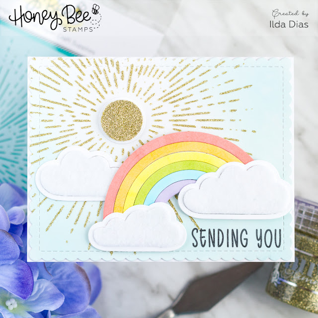 Rainbow Wishes card for Happy BEE Day Release Blog Hop Day 1 by ilovedoingallthingscrafty.com