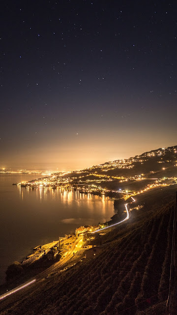 Night, Sea, Coast, City, Lights