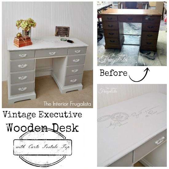 Vintage Executive Wooden Desk Before and After