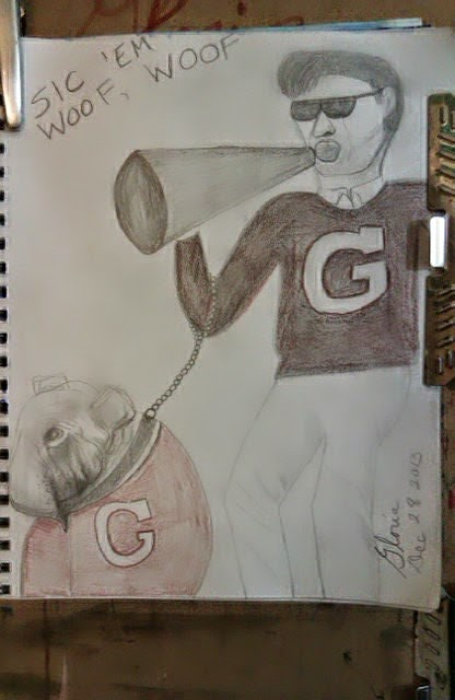 """Sic em woof, woof"" pencil drawing by Gloria Poole of Missouri; yr 2013"