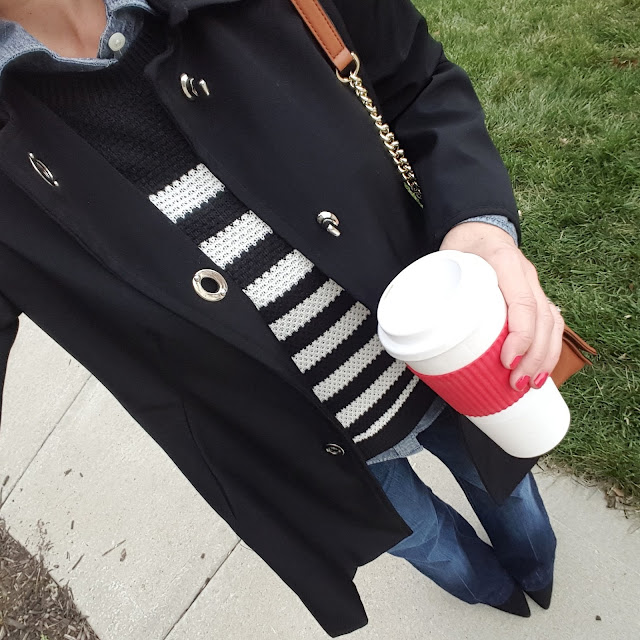 Anne Klein Jacket (similar), in silver and khaki for 50% off! // Old Navy Sweater (similar) // J. Crew Factory Chambray Shirt // 7 For All Mankind Jeans // Signature by Report Heels (only $27, regular $90!) // Rebecca Minkoff Hanbag // To Go Cup (LOVE this Kate Spade version and this J. Crew Factory version on sale for $7.50!)