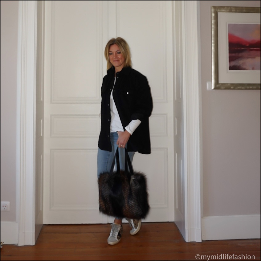 my midlife fashion, h and m overshirt, marks and Spencer long sleeve  crew neck t shirt, Ralph Lauren jeans, golden goose  superstar low top leather trainers, Helen Moore faux fur kersey bag