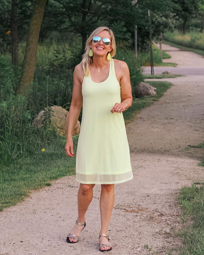 Peach neon green a-line dress