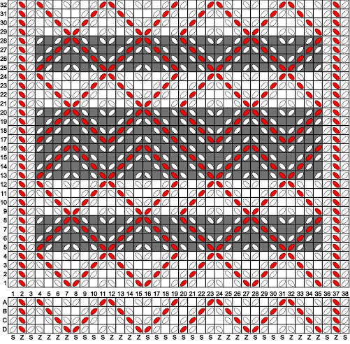 A tablet weaving draft patterned with white and red threads forming diamond and diagonal line motifs.