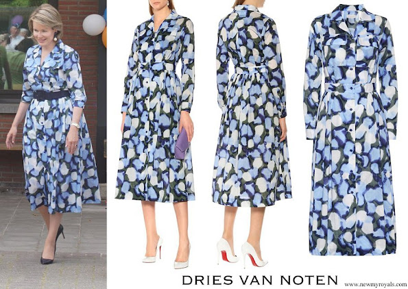 Queen Mathilde wore DRIES VAN NOTEN Printed cotton dress