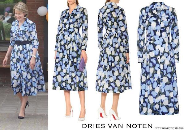 Queen Mathilde wore DRIES VAN NOTEN Printed cotton dress