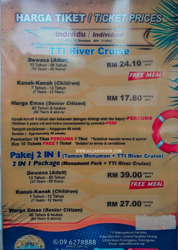 Harga tiket River Cruise Terengganu