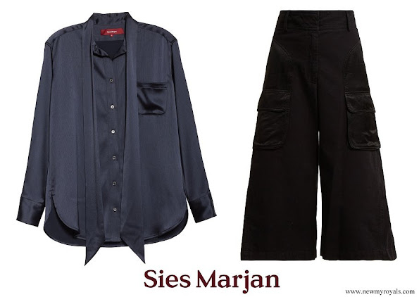 Queen Rania wore Sies Marjan Rae Satin Blouse and Sidney wide-leg cotton culottes