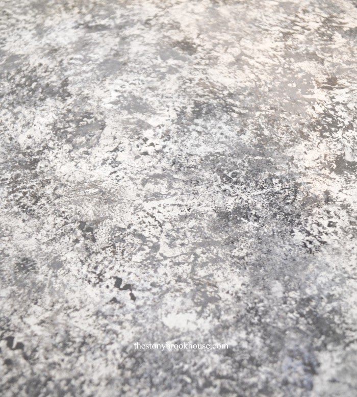 Super close photo of painted faux granite counter