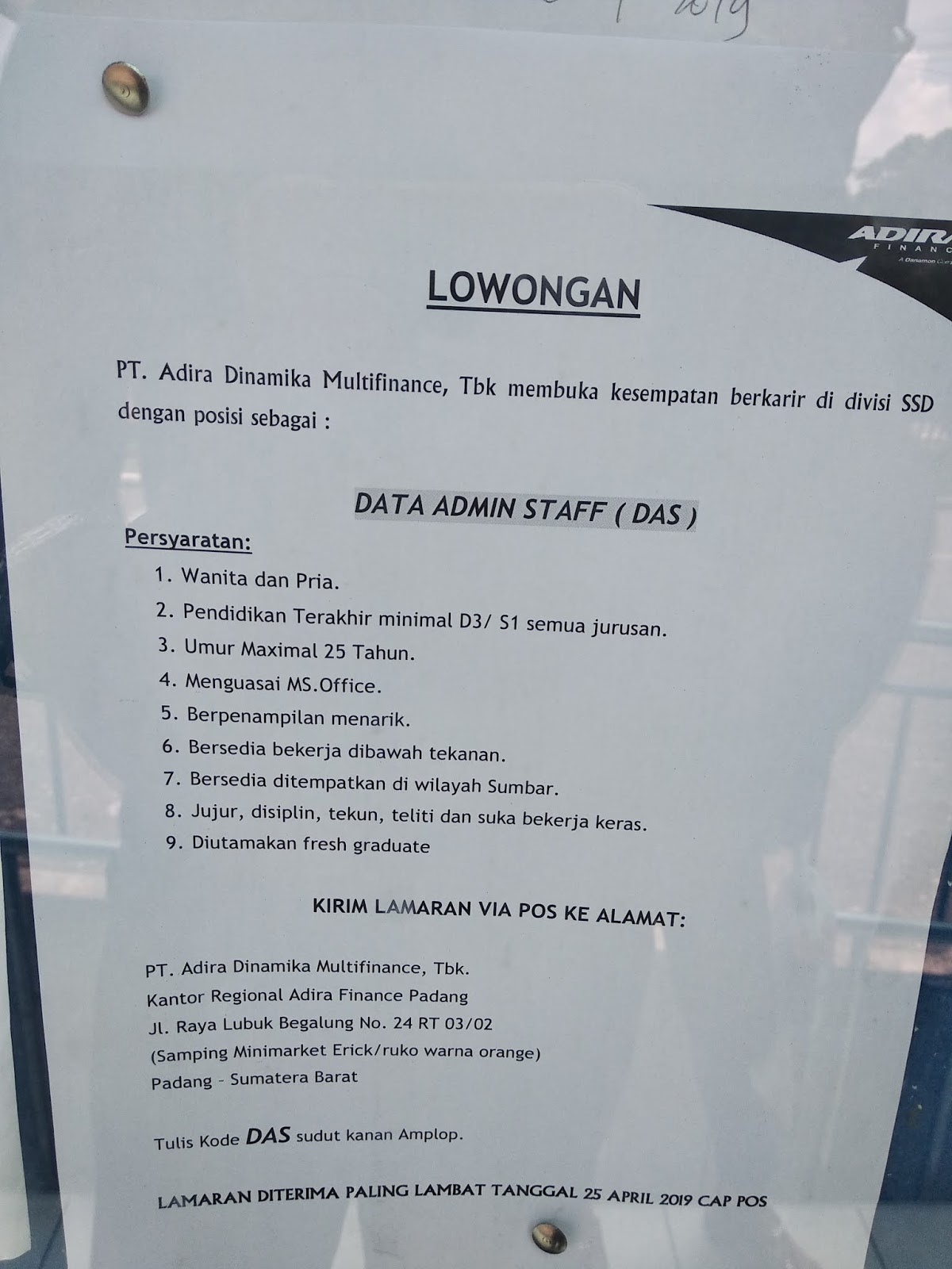 Lowongan Kerja Padang Data Admin Staff Das Adsanjaya