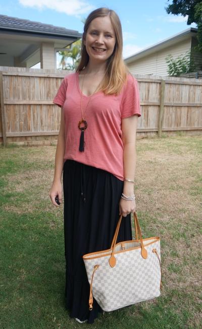 pink tee, black drawstring maxi skirt, sneakers and Louis Vuitton damier azur neverfull tote mum style | awayfromblue