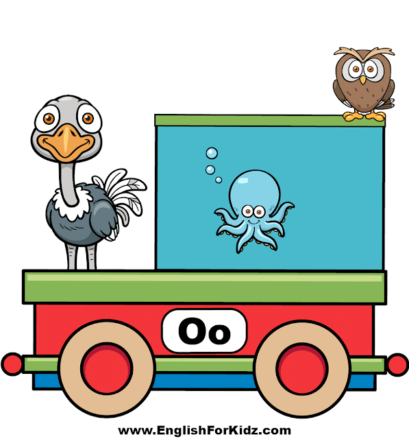 Letter O is for ostrich, octopus and owl - ABC train classroom decor
