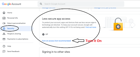 turn on less secure app access