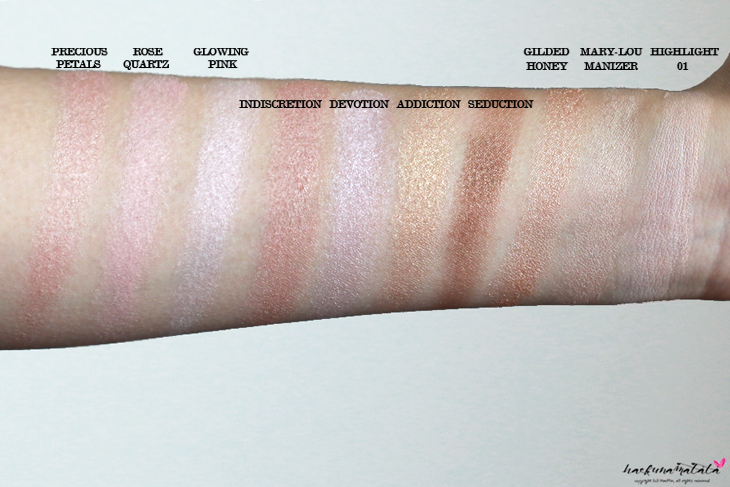 Highlighter Comparison Swatches: Laura Mercier Indiscretion Addiction Devotion Seduction, Wet n Wild Precious Petals, Becca Rose Quarts, Dior Glowing Pink, Laura Geller Gilded Honey, The Balm Mary-Lou Manizer, Laura Mercier Highlight 01