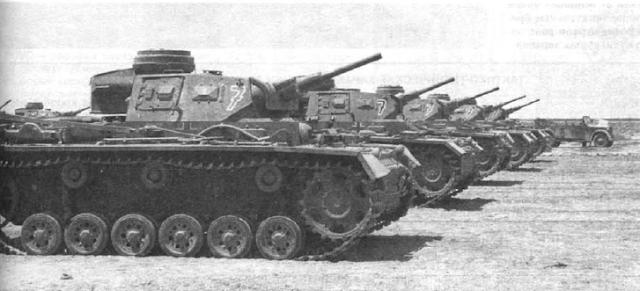 Средние танки Pz. III Ausf.J в Африке. 1942 год