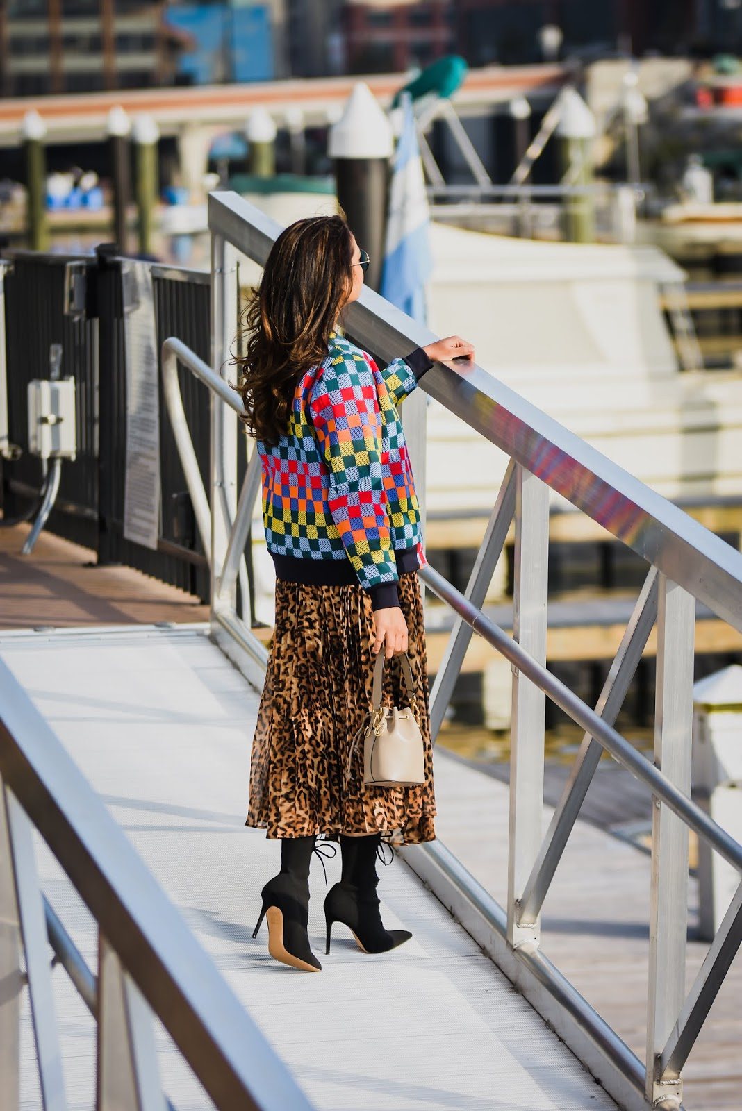 24 hours in baltimore, travel blogger, fashion, lifestyle, MAryland, travel, lifestyle, leopard print dress, tory burch jacket, winter fashion, things to do in Baltimore, myriad musings
