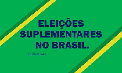 A imagem mostra a frase:as eleições suplementares no Brasil. As eleições complementares que serão realizadas em vários municípios brasileiros, após as finalizações das eleições normais em outubro e novembro de 2016; são frutos da lei da ficha limpa.