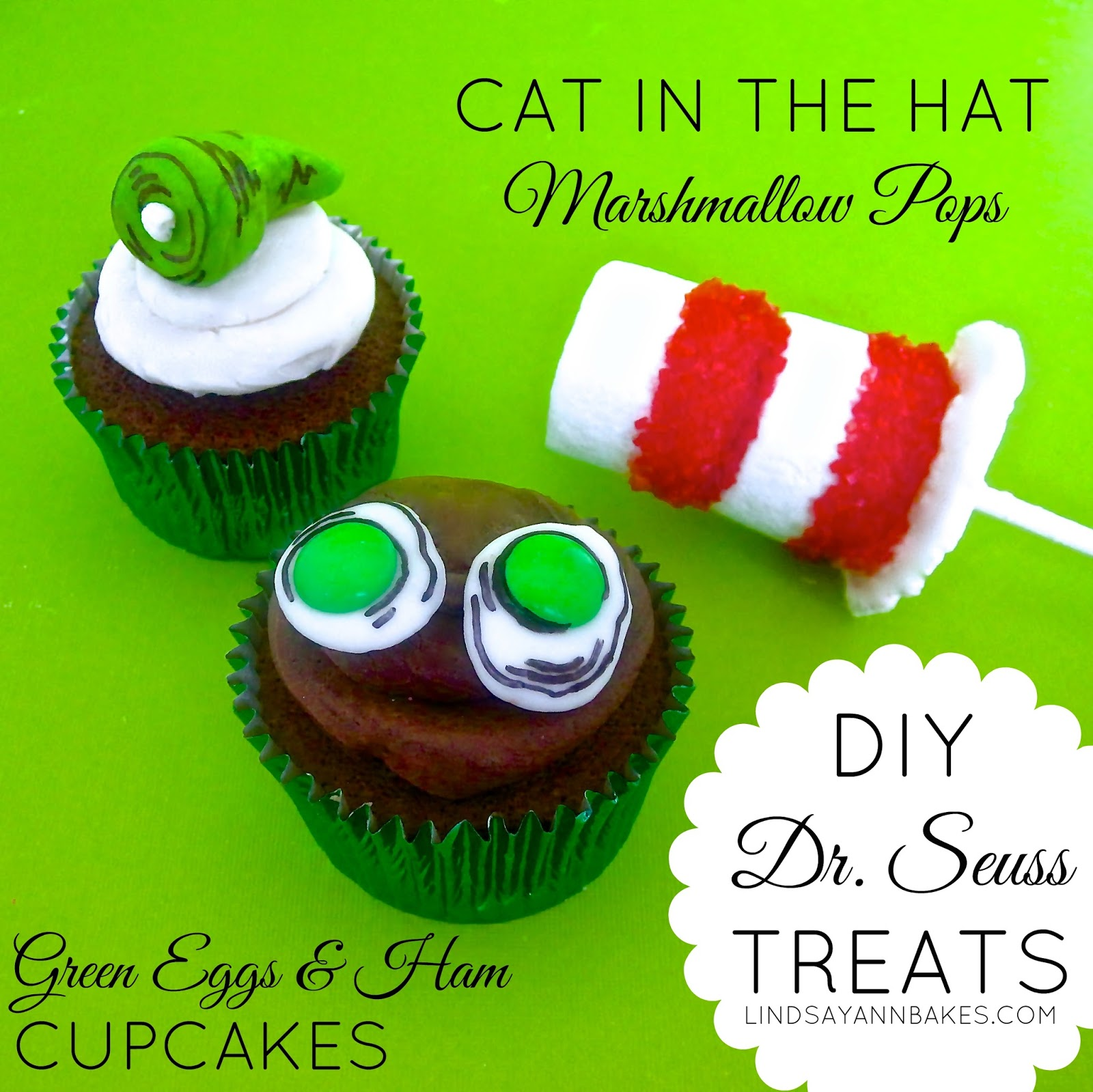 Swell Diy Dr Seuss Treats Green Eggs Ham Cupcakes Cat In The Hat Personalised Birthday Cards Epsylily Jamesorg