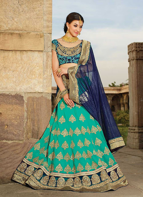 Half Half Light and Dark Blue Lehenga For a Bride