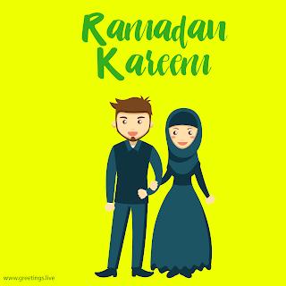 Muslim couple celebrating Ramadan festival.Ramadan kareem image