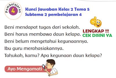 Kunci Jawaban Tematik Kelas 2 Tema 5 Subtema 2 pembelajaran 4 www.simplenews.me
