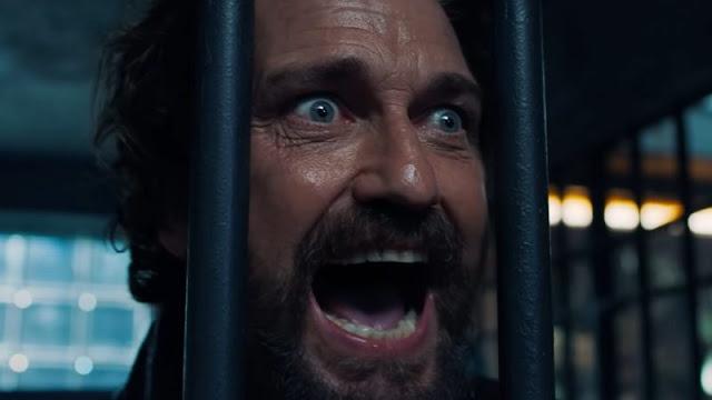 Gerard Butler looking crazy in Copshop
