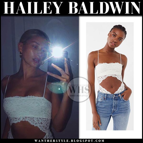 54f9a6df0af2 Hailey Baldwin in white lace cutout bodysuit out from under magnolia.  celebrity instagram style april
