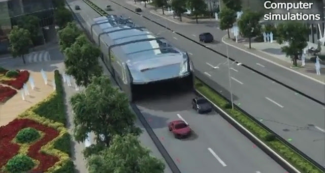 Ý tưởng 'xe bus trải dài' trong tương lai của Trung Quốc. Hình chụp từ video của New China TV.