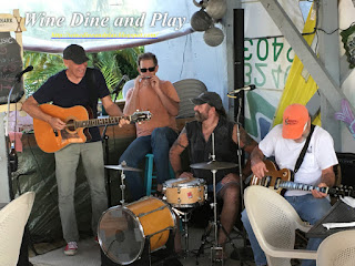 A local band prepares to play at the Hooked Island Grill in Matlacha, Florida