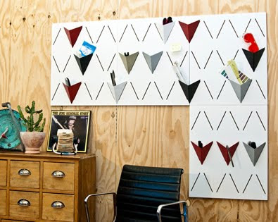 modular wall storage - metal sheets with triangular pockets
