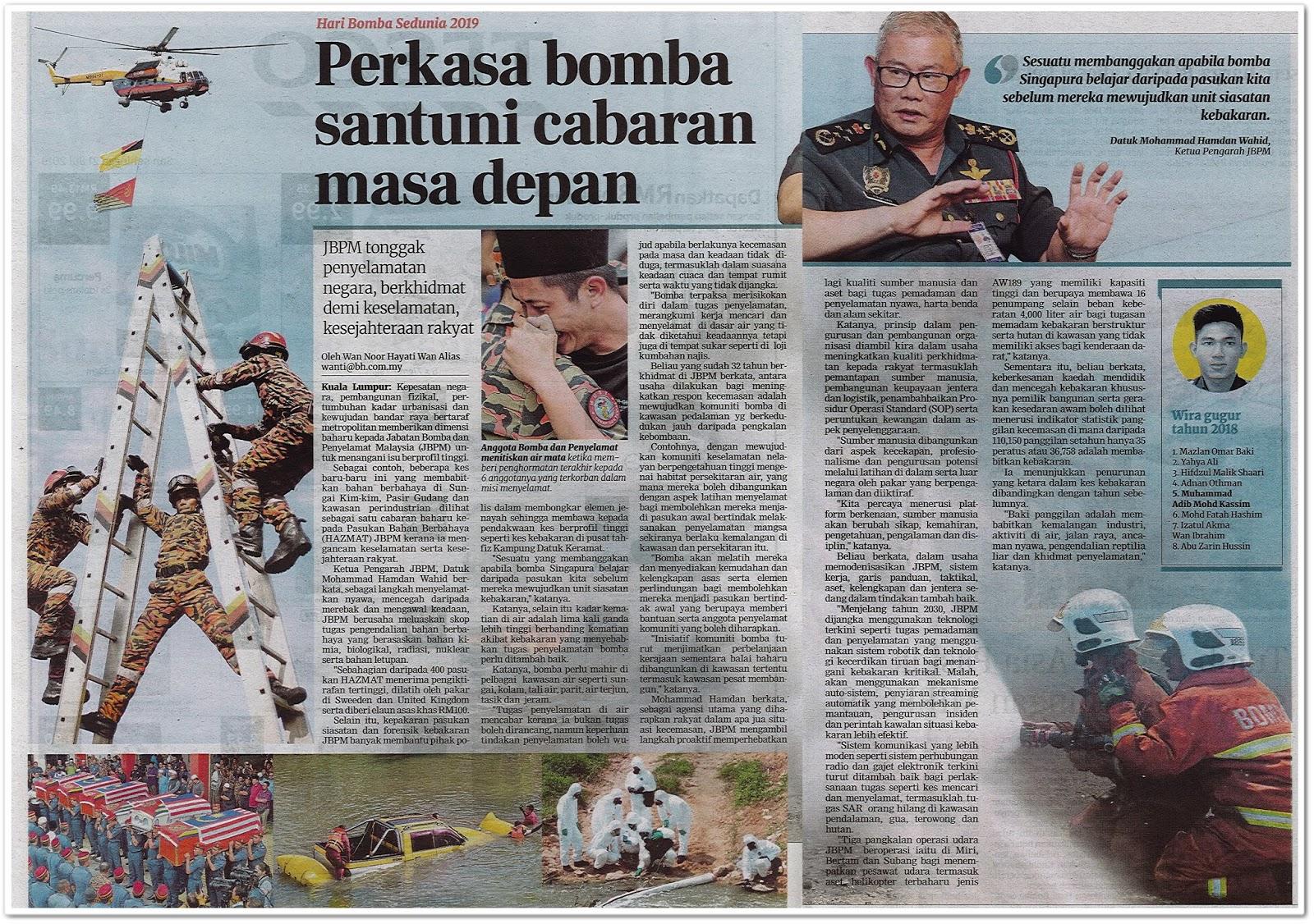 Perkasa bomba santuni cabaran masa depan - Keratan akhbar Berita Harian 20 Julai 2019