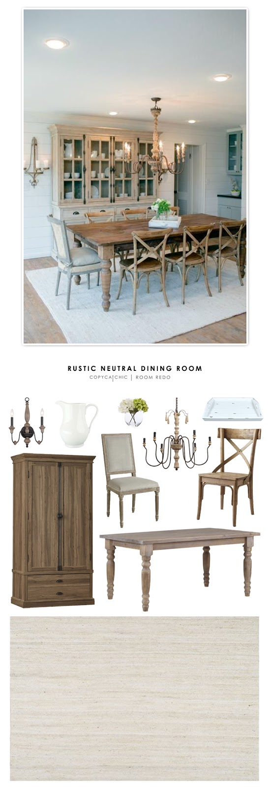 Copy Cat Chic Room Redo Rustic Neutral Dining Room