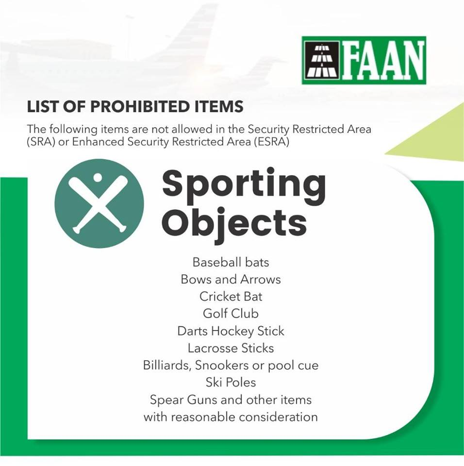 FAAN Releases Lists Of Prohibited Items For Passengers