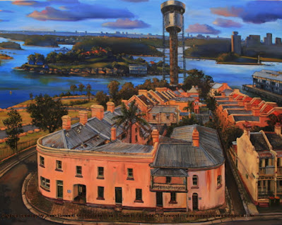 plein air oil painting of the Harbour Control Tower, Millers Point terraces, Barangaroo and Goat Island from the Hotel Palisade by industrial heritage artist Jane Bennett