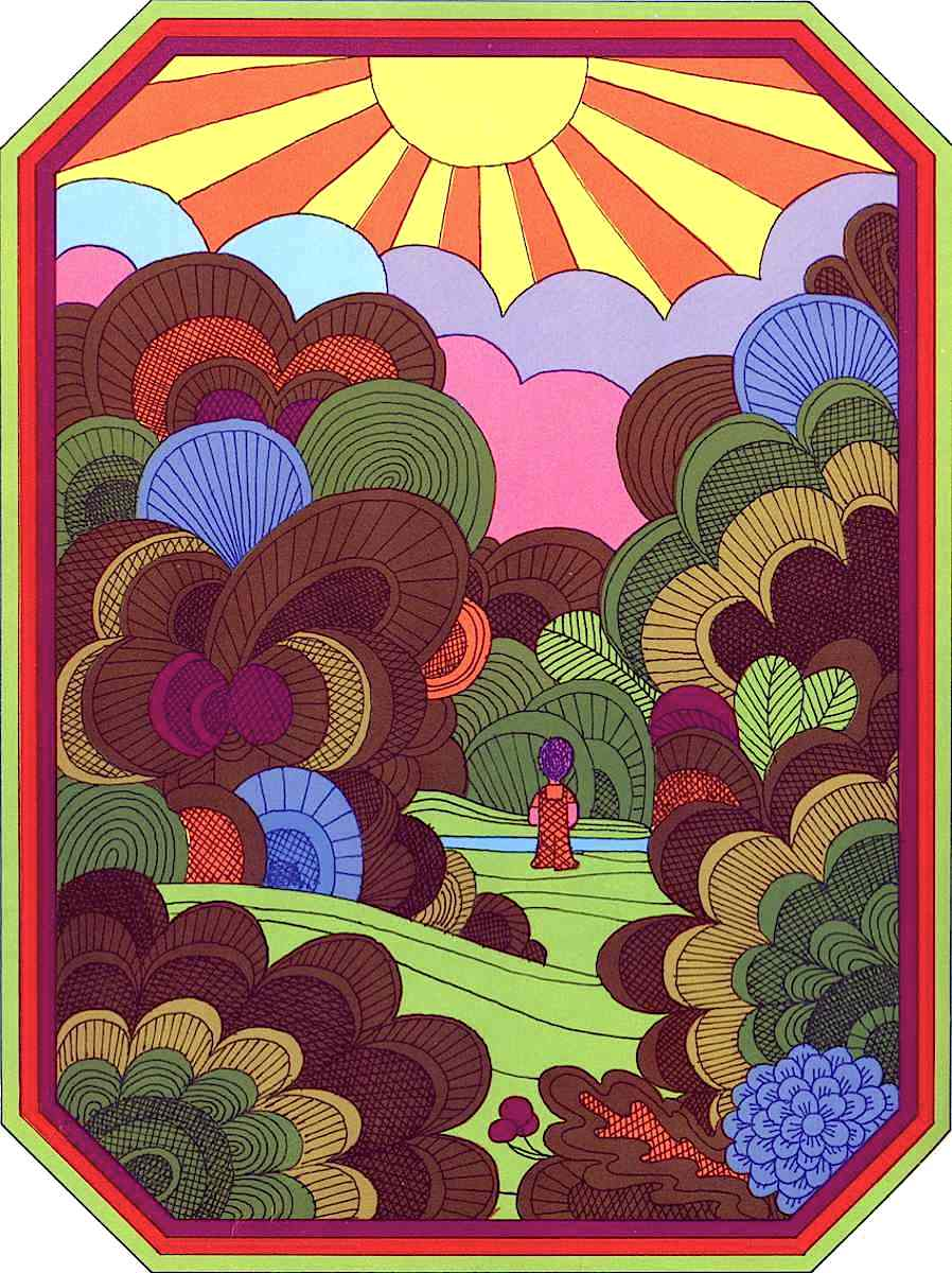 a 1969 Nicolas Sidjakov illustration of a boy wandering in psychedelic nature