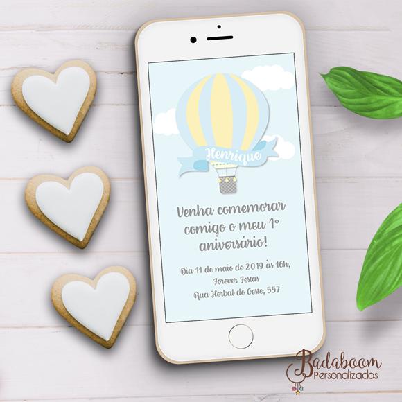 Balão, convite, digital, whatsapp, festa infantil, chá de bebê, chá de fraldas, arte personalizada