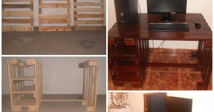 Eco reciclaje escritorio con palets reciclados - Como hacer un mueble con palets ...